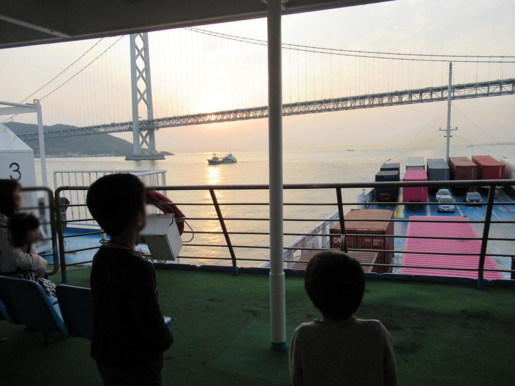 小豆島ジャンボフェリーから見た夕日
