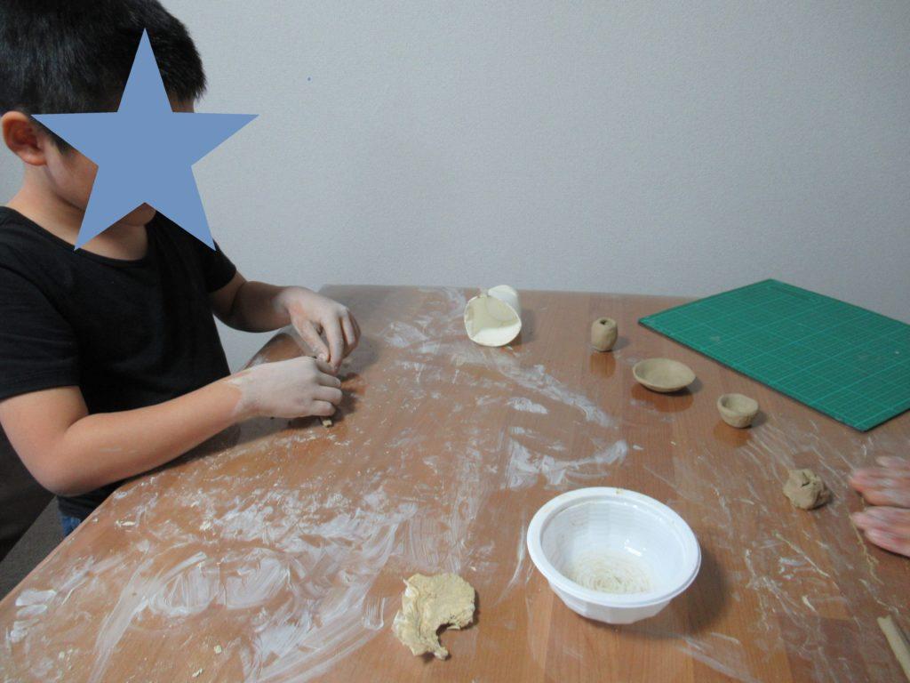 オーブン粘土で土器作り